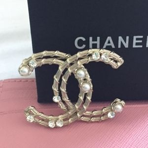 Authentic Chanel Pearl and Crystal Pin Brooch